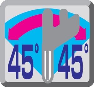Obustronna regulacja pochyłu głowicy 45°L i 45°P