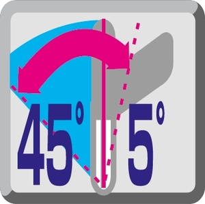 Obustronna regulacja pochyłu głowicy 45°L i 5°P
