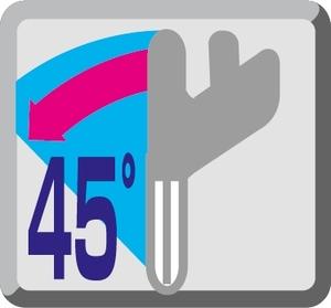 Regulacja pochyłu głowicy 45°L