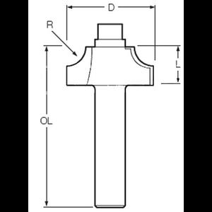 FREZ PROFIL WKLĘSŁY 8mm R=9,5 35X15,8mm