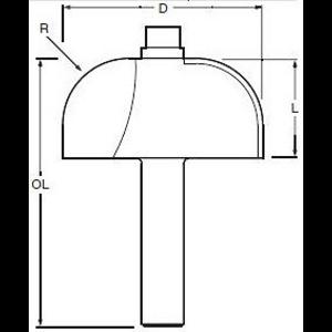 FREZ PROFIL WYPUKŁY 8mm R=12,7 38,2X19mm
